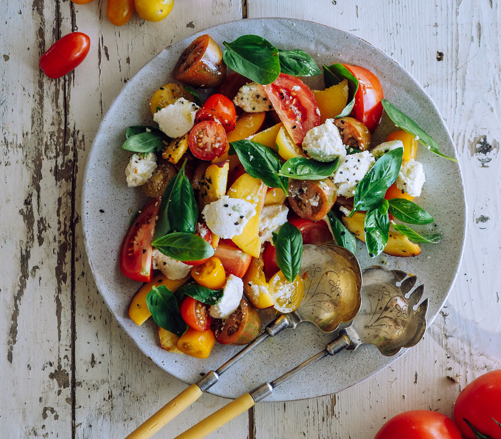 All the Things Tomato, Peach and Basil Salad with Almond Curd